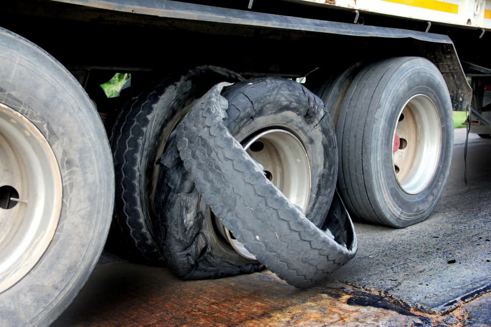 truck tire blow out
